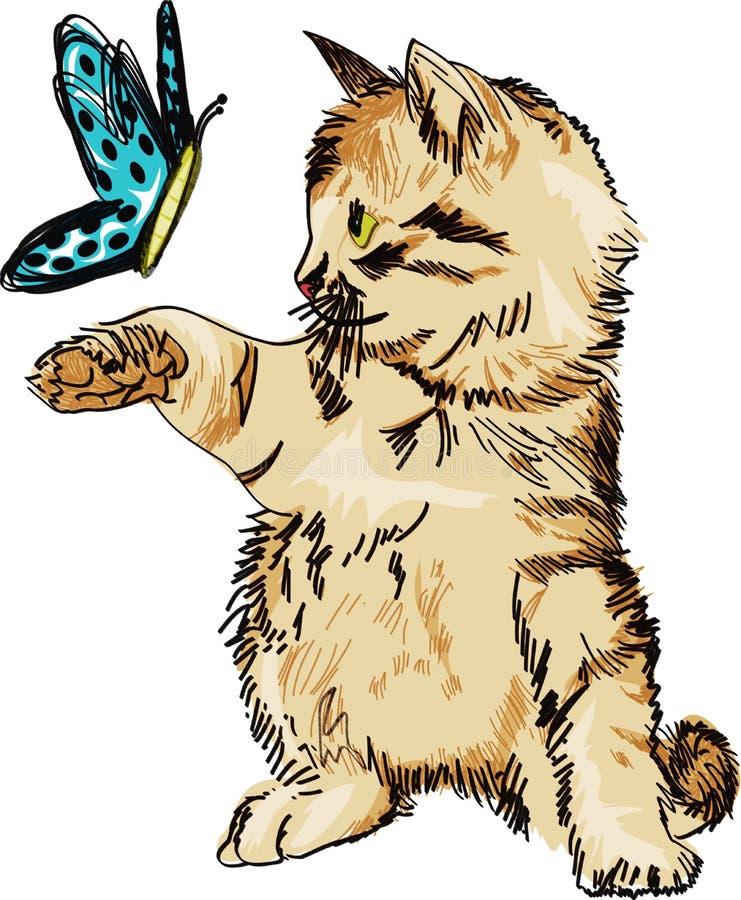 与甜蝴蝶使用的逗人喜爱的猫 库存图片