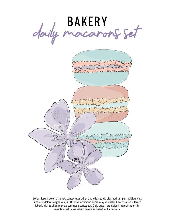 与甜macarons和花的现代传染媒介例证 餐馆海报模板 面包店广告概念 皇族释放例证
