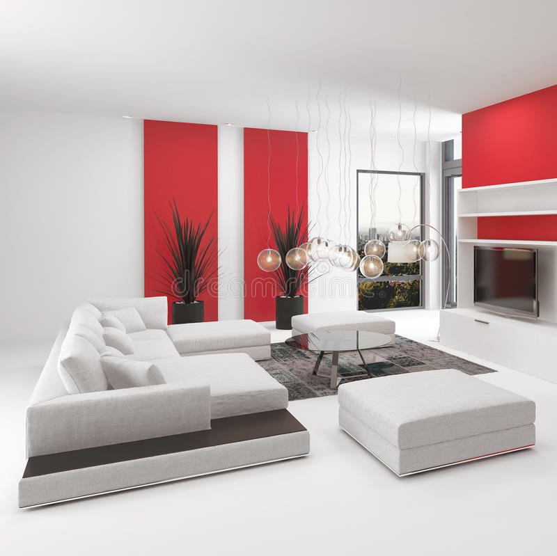 与生动的红色口音的现代客厅内部 库存例证