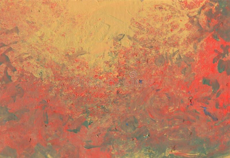 与生动的绘画的技巧和艺术性的刷子纹理的抽象美丽如画的绘画背景 库存例证