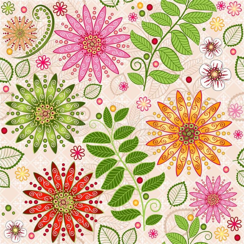 春天五颜六色的无缝的花卉样式 库存例证