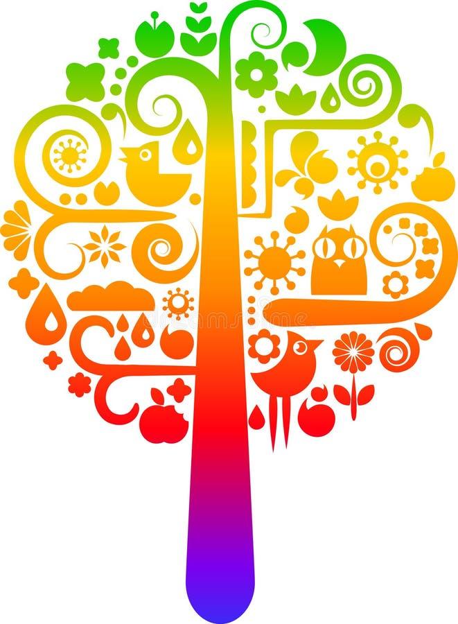 与生态学图标的彩虹结构树 皇族释放例证