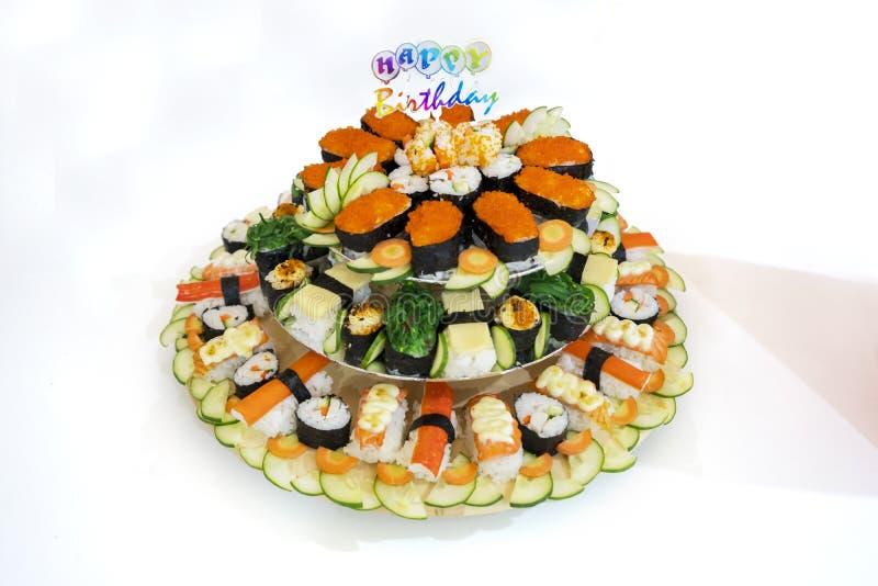 与生日快乐文本的日本寿司食物 免版税库存照片