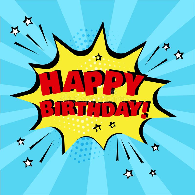 与生日快乐词的黄色讲话泡影在蓝色背景 r 库存例证