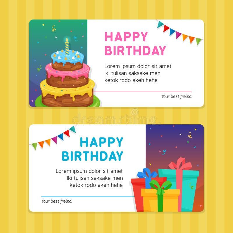 与生日蛋糕和礼物盒例证的生日快乐现代邀请卡片模板 向量例证