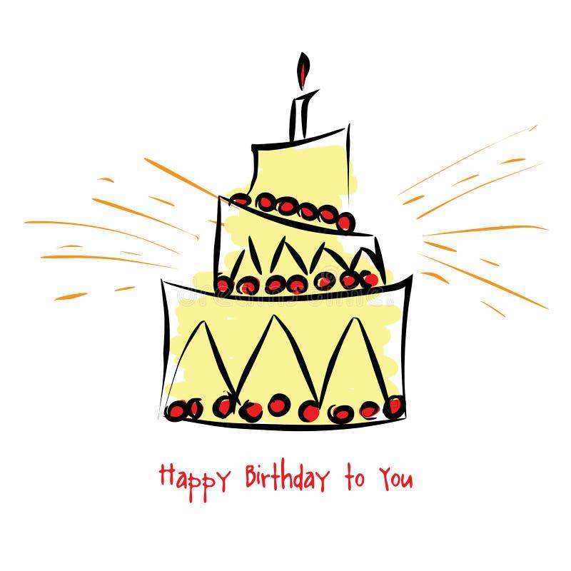 与生日蛋糕的卡片 库存例证