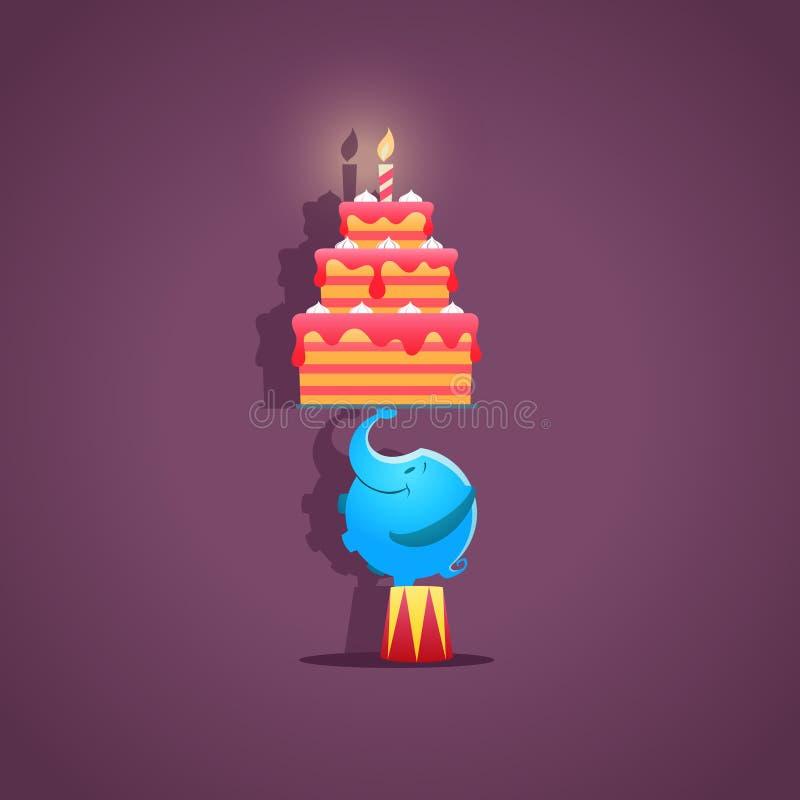 与生日蛋糕的马戏大象-传染媒介 向量例证
