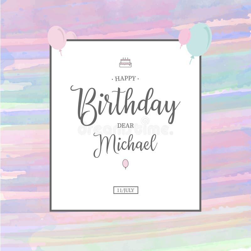 与生日邀请的逗人喜爱的水彩背景 库存图片