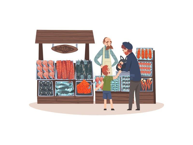 与生气勃勃鱼的海鲜市场在柜台,有男性卖主的街道商店和顾客传染媒介例证 皇族释放例证