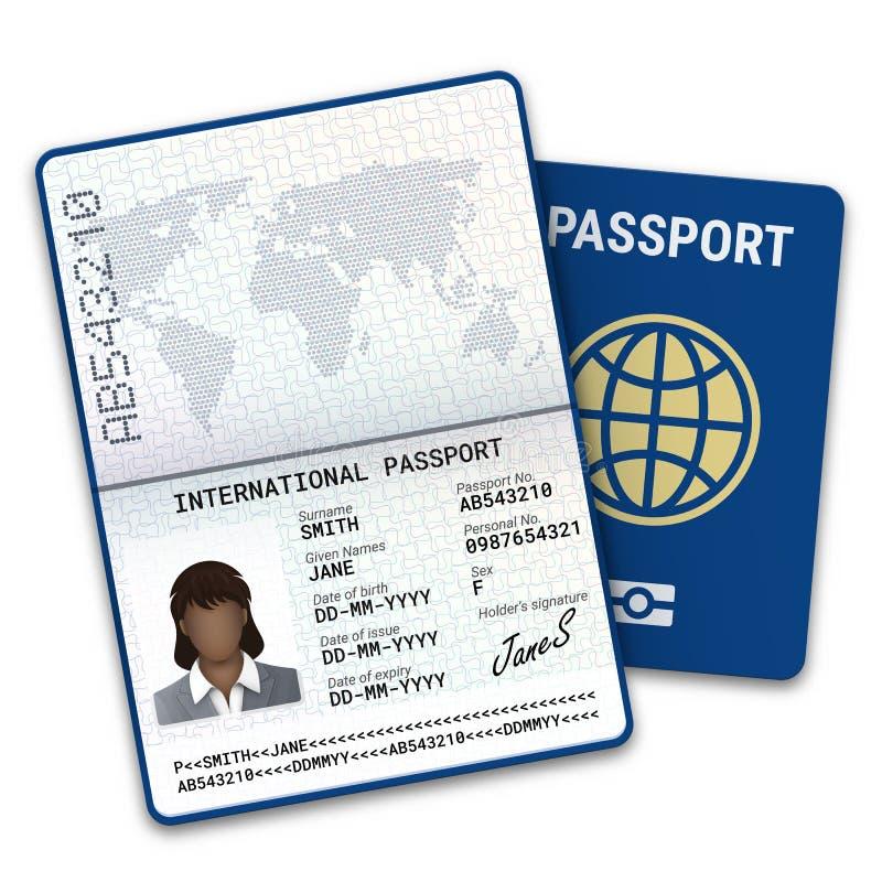 与生物统计的数据证明的国际女性护照一个黑人妇女的模板,照片和其他图片