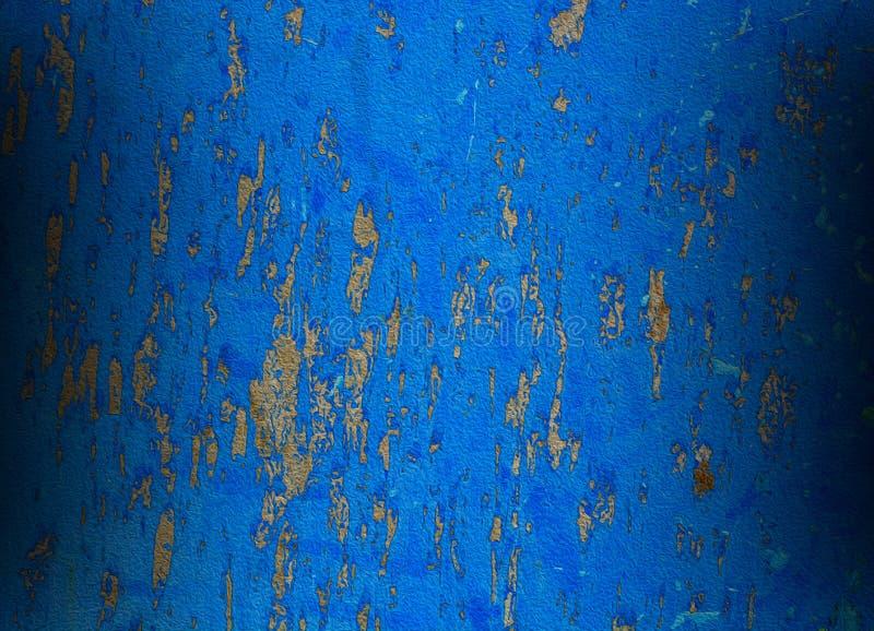 与生锈的油漆的蓝色背景摘要 免版税库存照片