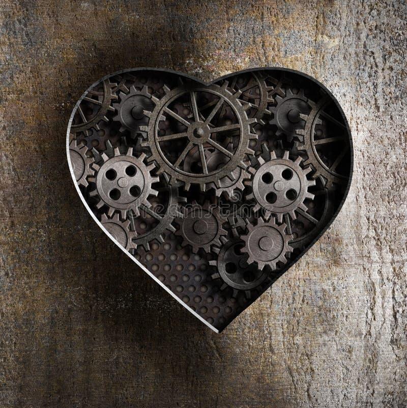 与生锈的齿轮的金属心脏 库存照片