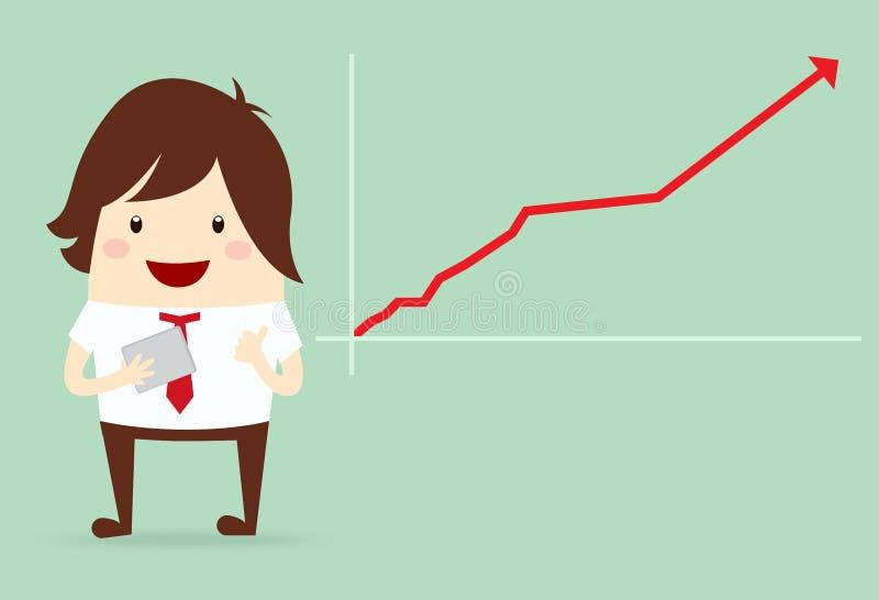 与生长图表图,企业概念的愉快的商人 向量例证