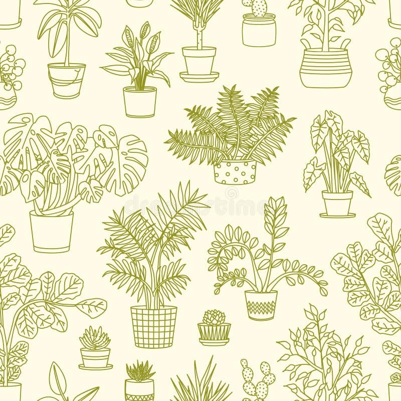 与生长在大农场主的植物的单色无缝的样式画与在轻的背景的等高线 背景与 皇族释放例证