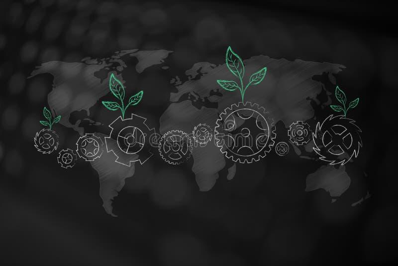 与生长在大齿轮和世界ma的叶子的生态机制 皇族释放例证