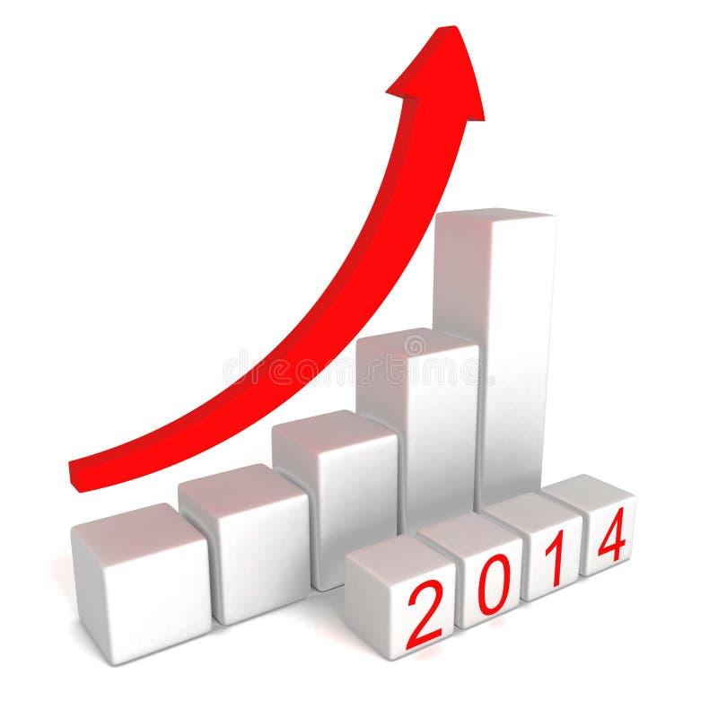 与生长箭头长条图的2014年数字 库存例证