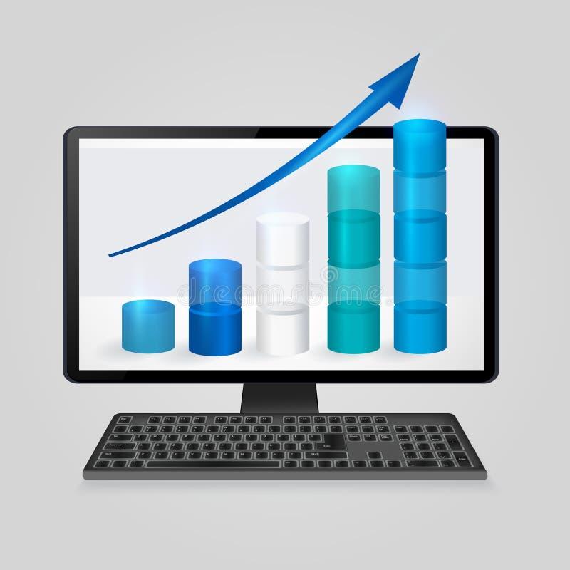 与生长长条图的键盘和计算机在屏幕上的显示器和箭头 分析事务,财务,统计概念 皇族释放例证
