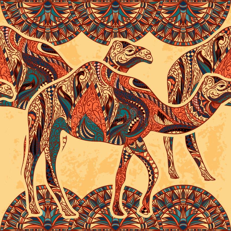 与用东方装饰品和埃及五颜六色的花饰装饰的骆驼的无缝的样式在难看的东西背景 皇族释放例证
