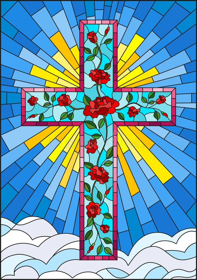 与用在天空背景的桃红色玫瑰装饰的基督徒十字架的彩色玻璃例证与云彩的 向量例证