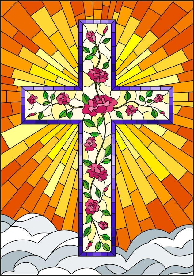 与用在橙色天空背景的桃红色玫瑰装饰的基督徒十字架的彩色玻璃例证与云彩的 库存例证