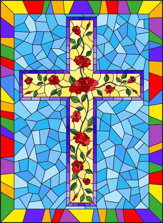 与用在蓝色背景的桃红色玫瑰装饰的基督徒十字架的彩色玻璃例证在明亮的框架 皇族释放例证