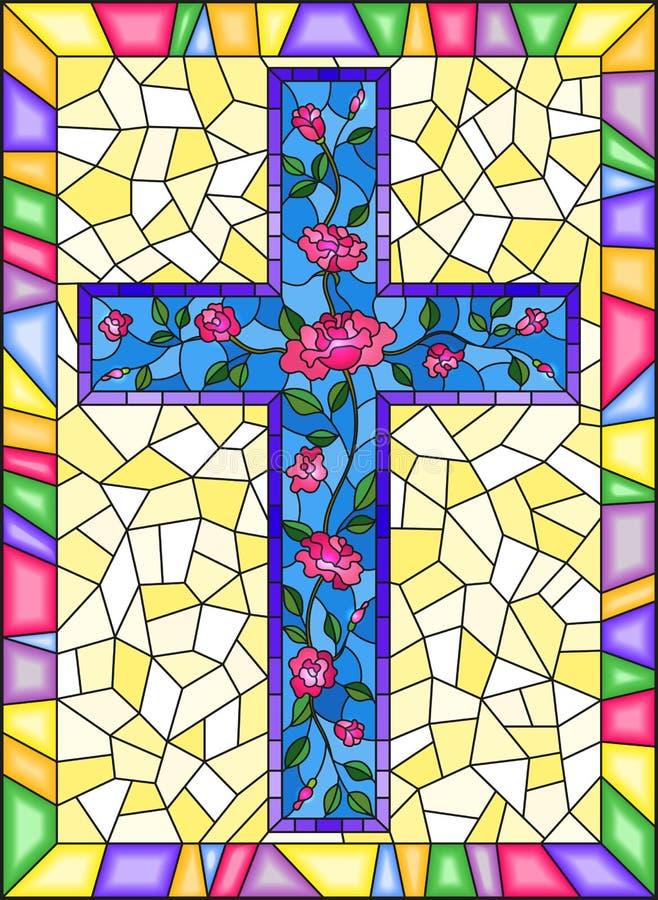 与用在蓝色背景的桃红色玫瑰装饰的基督徒十字架的彩色玻璃例证在明亮的框架 向量例证