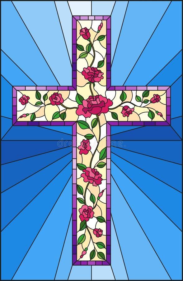 与用在蓝色背景的桃红色玫瑰装饰的基督徒十字架的彩色玻璃例证 皇族释放例证