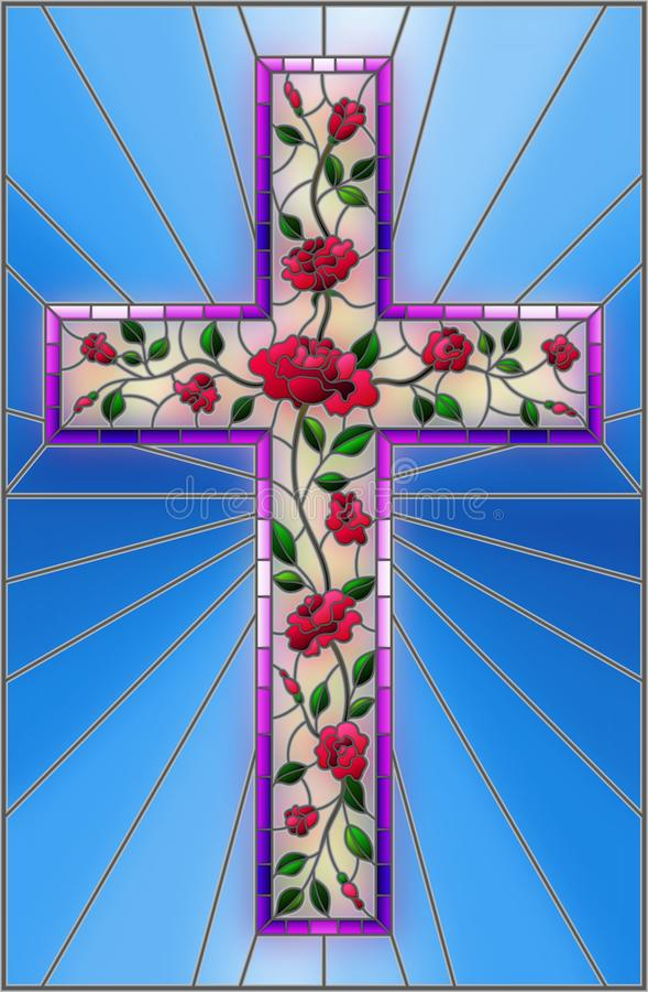 与用在蓝色背景的桃红色玫瑰装饰的基督徒十字架的彩色玻璃例证 库存例证