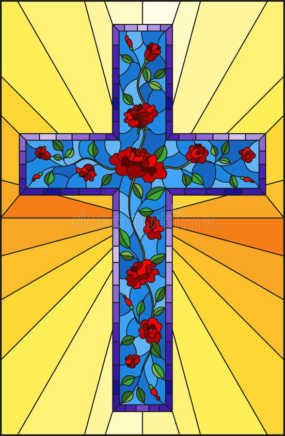 与用在黄色背景的英国兰开斯特家族族徽装饰的蓝色基督徒十字架的彩色玻璃例证 皇族释放例证