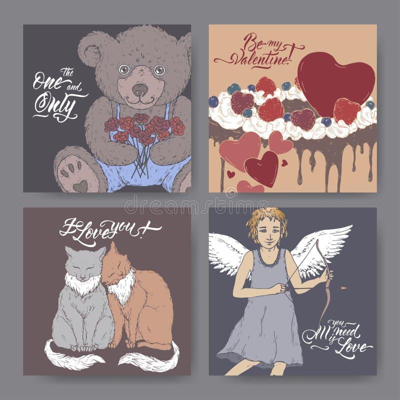 与用心脏装饰的玩具熊、蛋糕,两猫、丘比特和刷子字法的四副颜色华伦泰浪漫横幅 库存例证