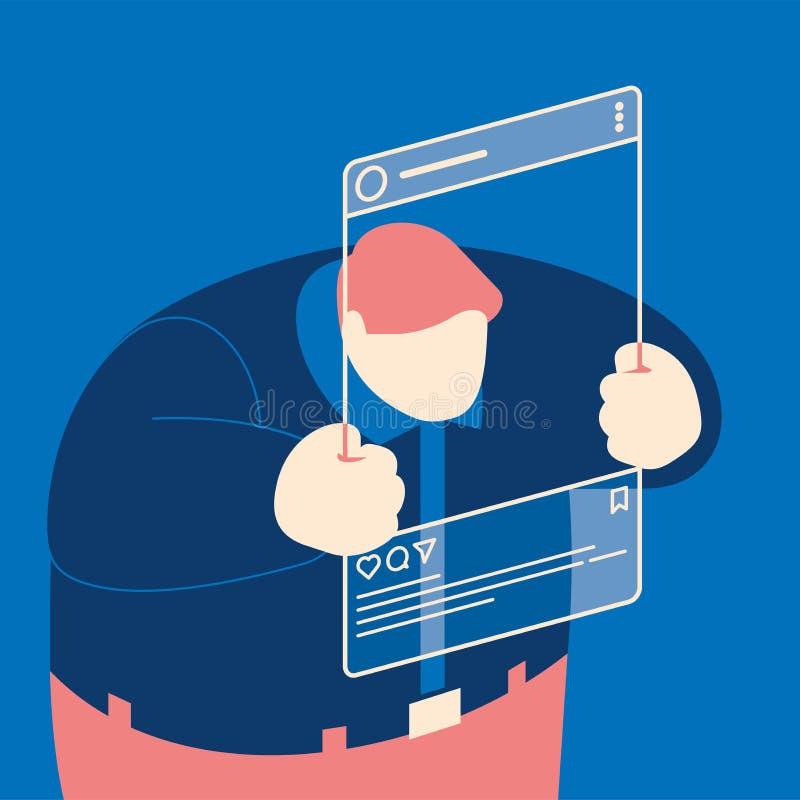 与用户或博客作者selfie的社会媒介概念在博克 皇族释放例证