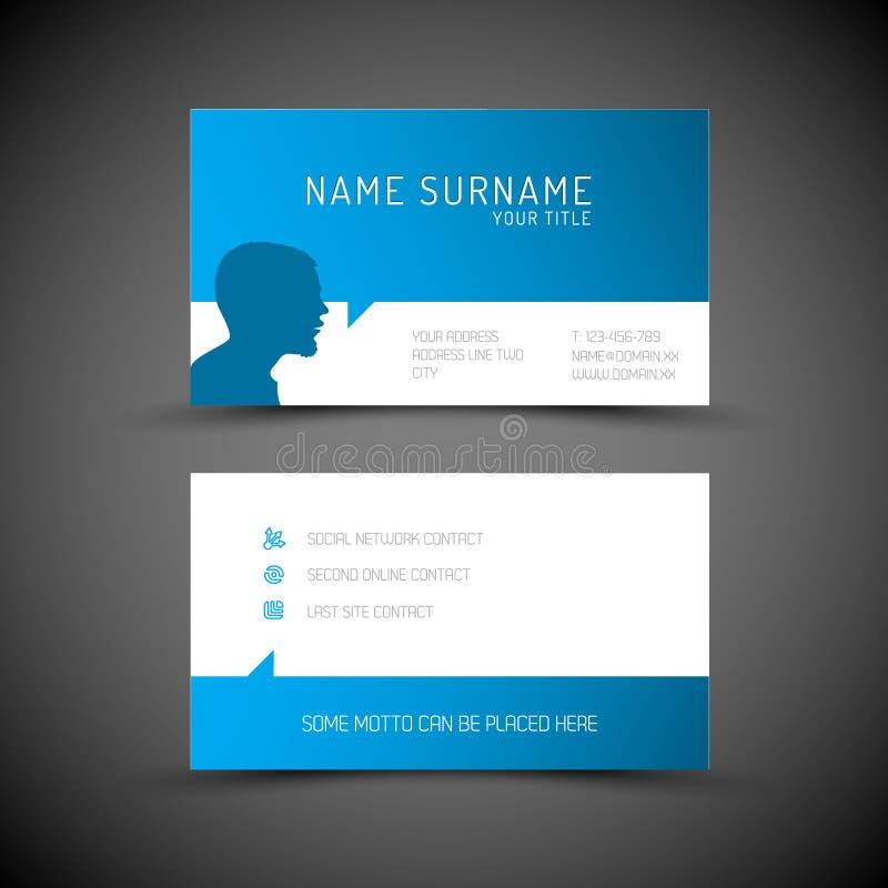 与用户概况的现代简单的蓝色名片模板 皇族释放例证