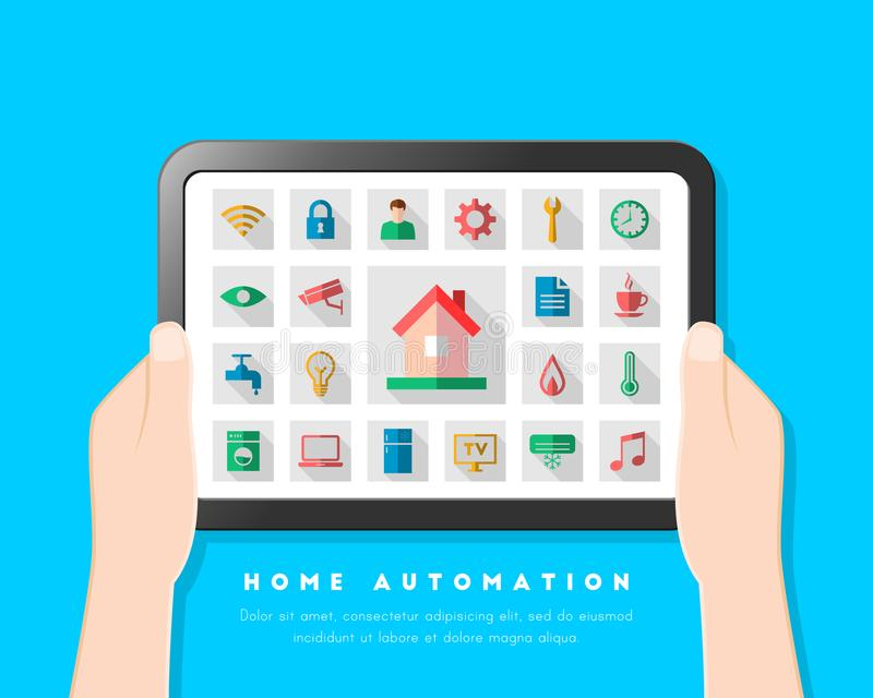 与用户界面和象集合的家庭自动化概念 库存例证