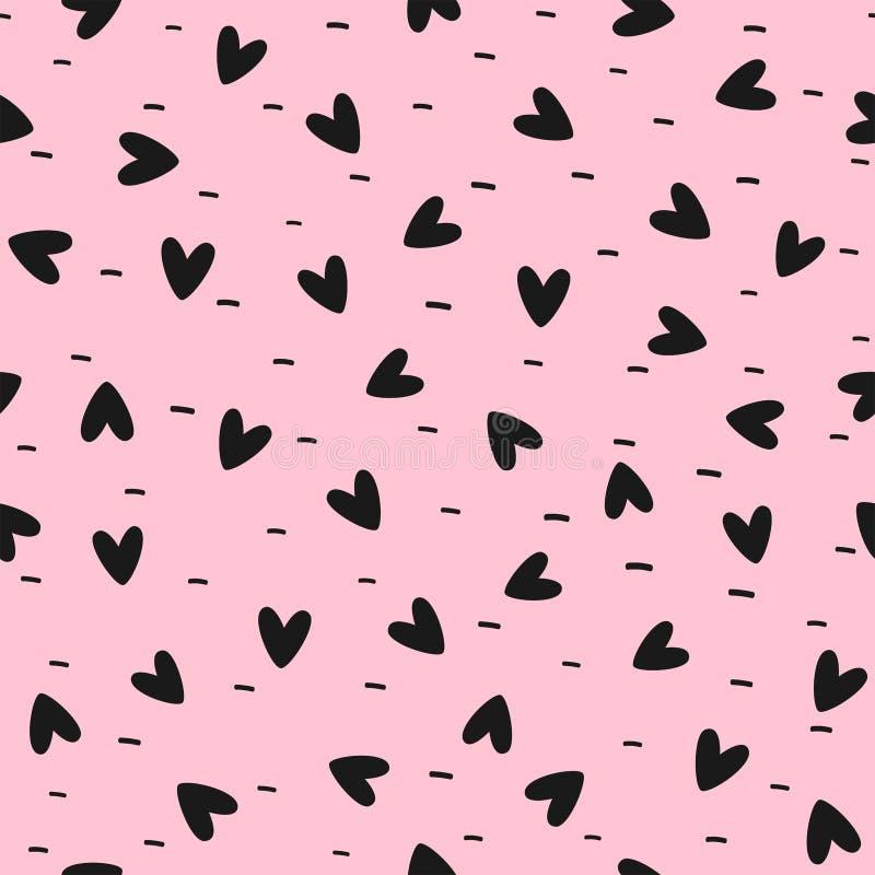 与用手被画的心脏和短线路的逗人喜爱的无缝的样式 浪漫女孩印刷品 黑,桃红色 皇族释放例证