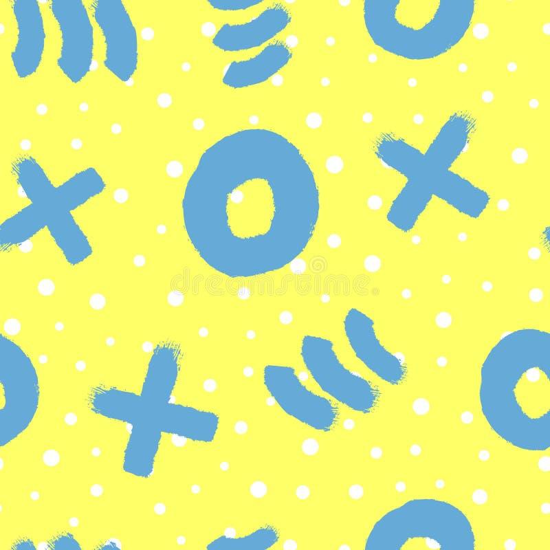 与用手被绘的几何形状的抽象无缝的样式 向量例证