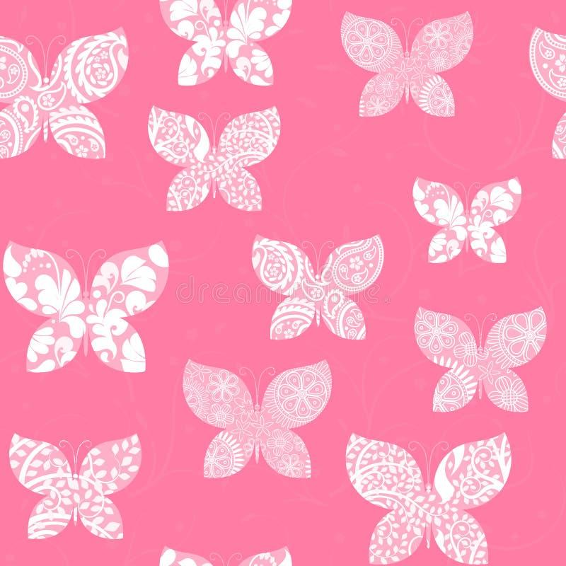 与用白色样式装饰的桃红色蝴蝶的无缝的背景 向量例证