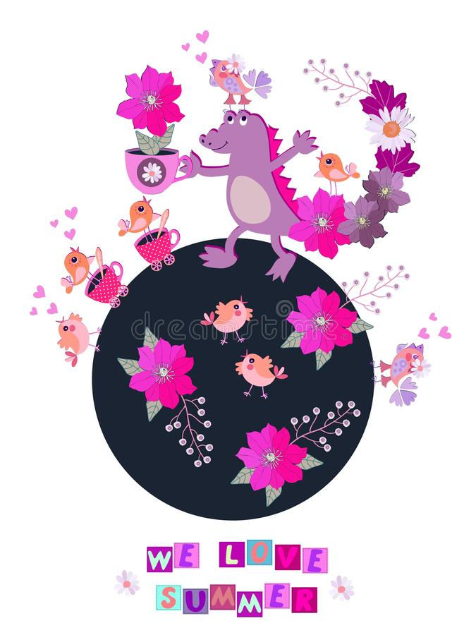 与用花和叶子装饰的尾巴的滑稽的紫色鳄鱼拿着在茶杯形状的花盆与美丽的花的 向量例证