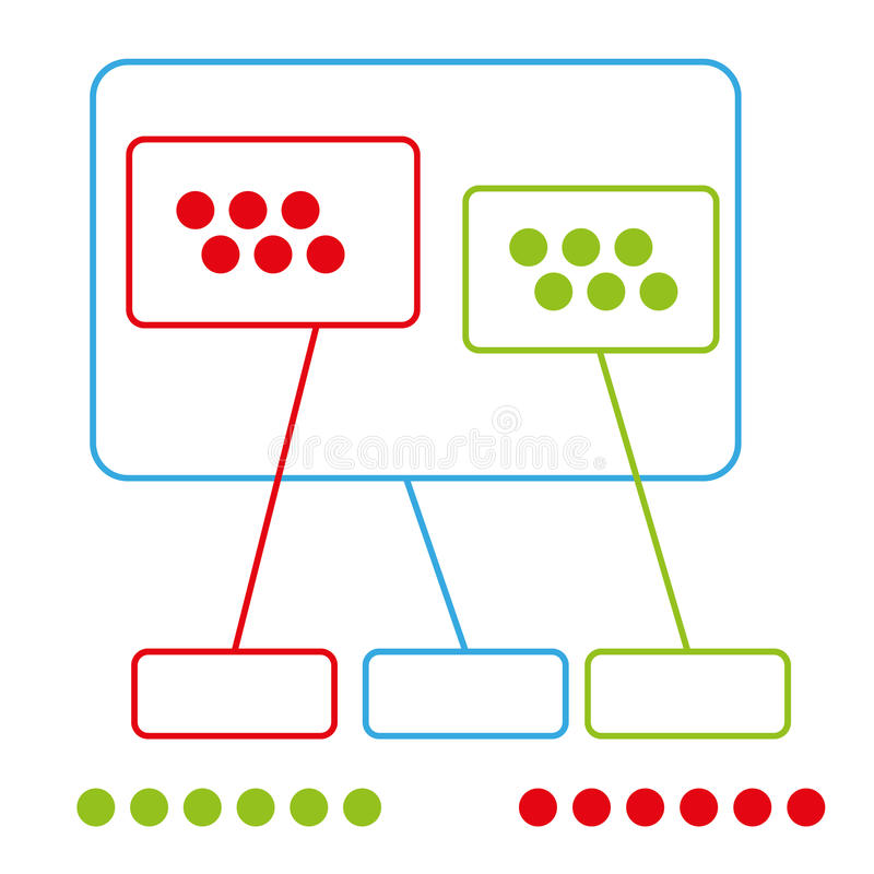 与用途的简单的颜色图表小组指向传染媒介 皇族释放例证