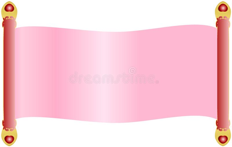与用金黄末端和心脏水晶宝石装饰的红色定缝销钉把柄的浅粉红色的纸卷纸 皇族释放例证