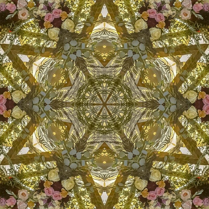 与由照片数位做的星的方形的花设计 免版税库存照片