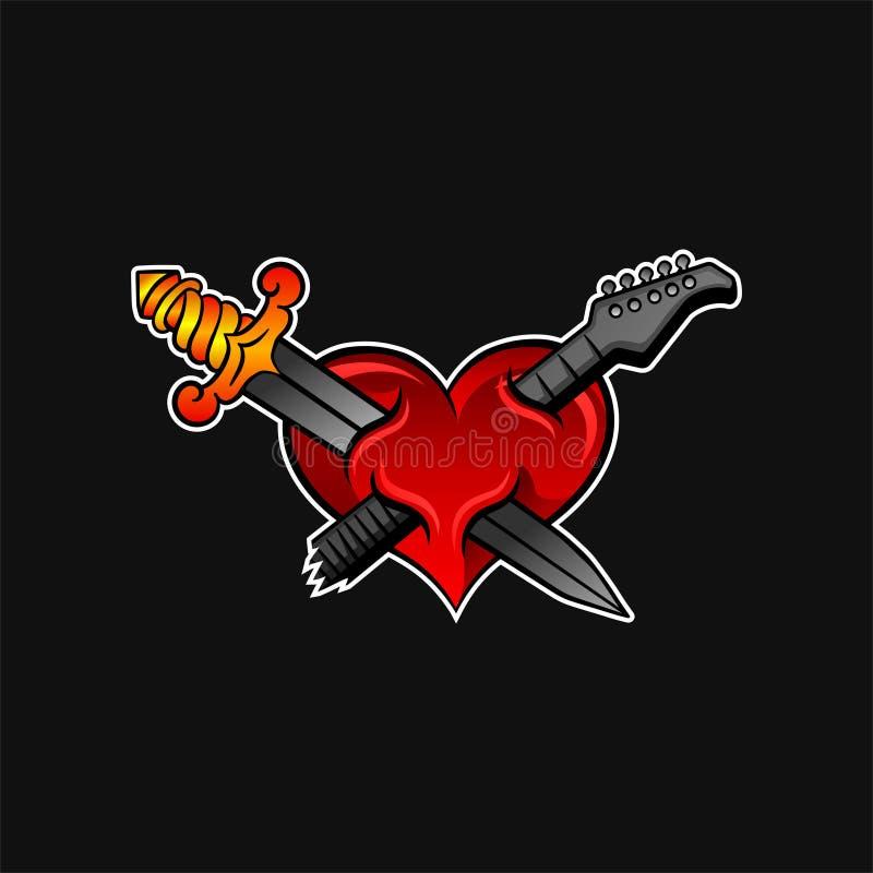 与电吉他的横渡的剑和脖子的明亮的红色心脏 岩石或音乐题材 纹身花刺的,贴纸传染媒介设计 向量例证