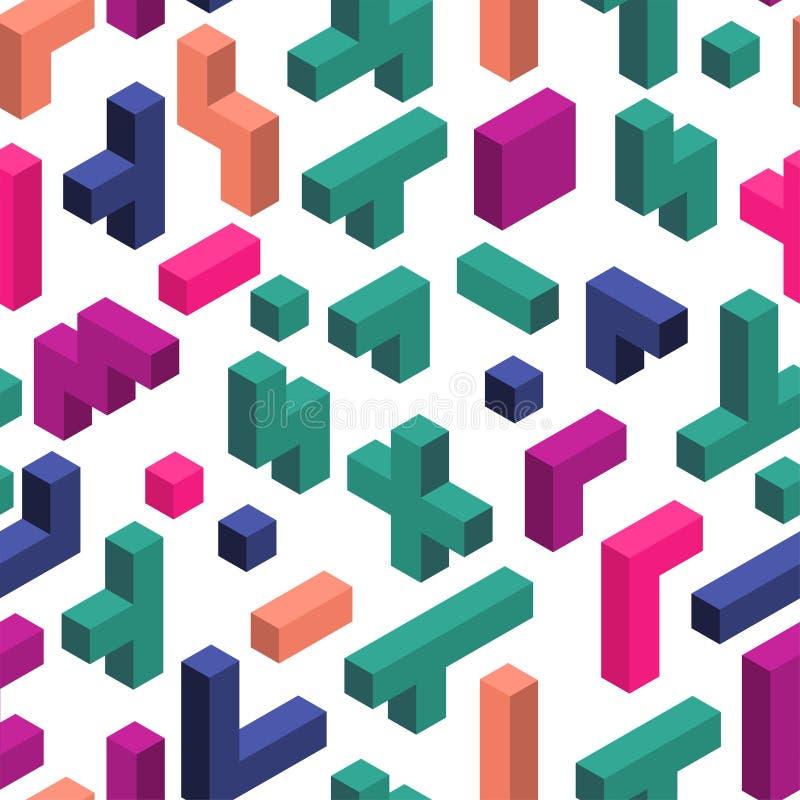 与电子游戏五颜六色的片断的无缝的样式在等量样式的 库存图片
