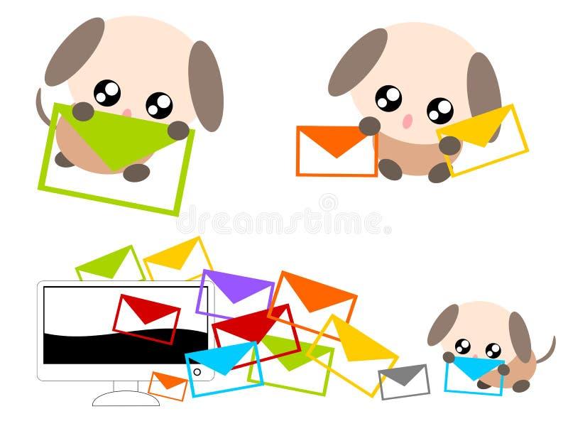 与电子邮件例证的动画片狗 向量例证