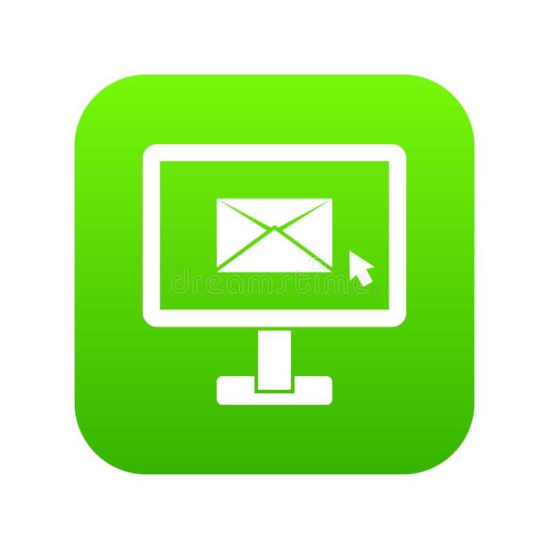与电子邮件标志象数字式绿色的显示器 向量例证
