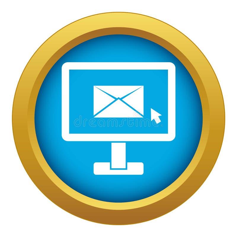 与电子邮件标志象蓝色传染媒介的显示器被隔绝的 向量例证