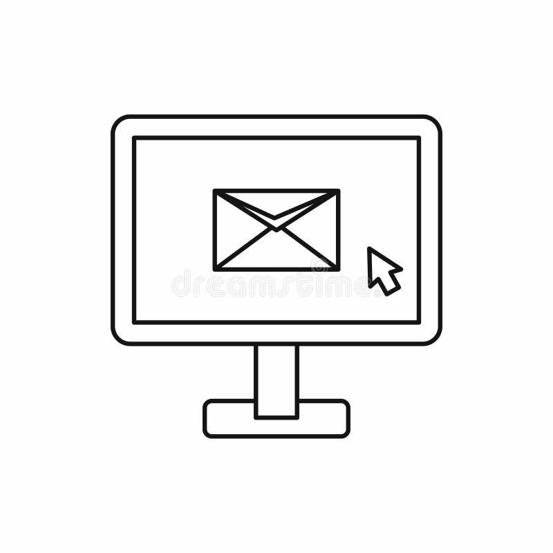 与电子邮件标志象,概述样式的显示器 向量例证