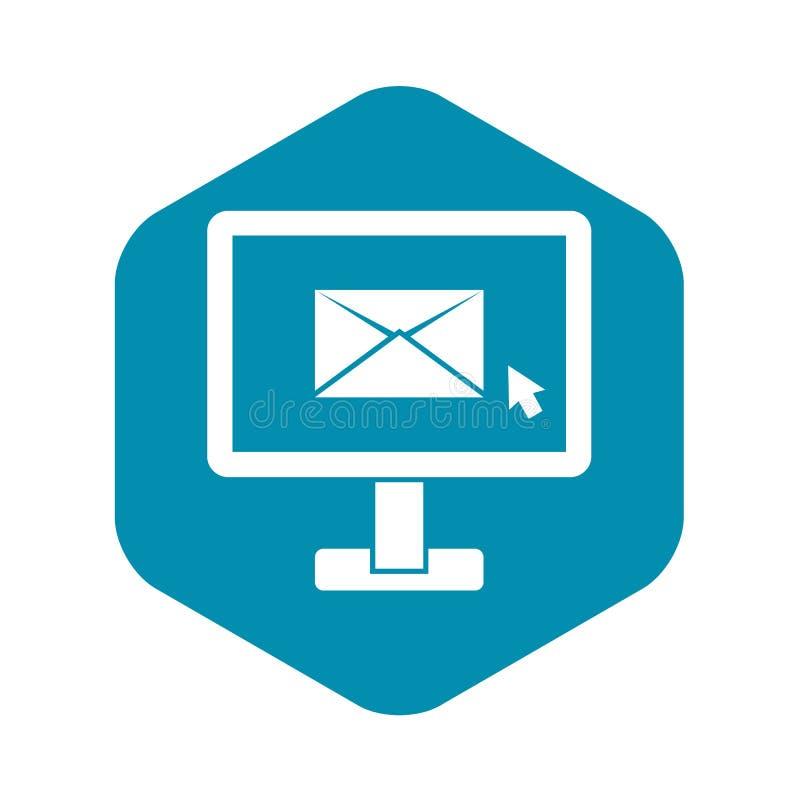 与电子邮件标志象,简单的样式的显示器 皇族释放例证