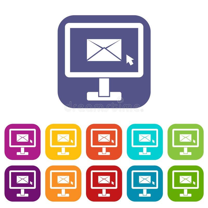 与电子邮件被设置的标志象的显示器 向量例证