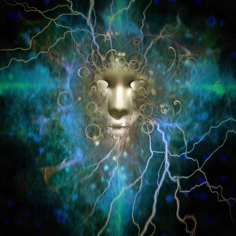 与电放热的黑暗的面孔 皇族释放例证