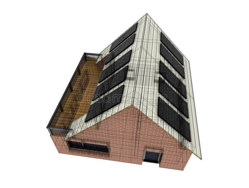 与电汇建筑的能承受的房子计划 向量例证
